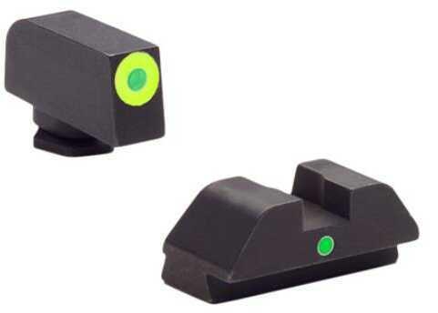 Ameriglo Gl305 I-dot Night Sights Glock 42/43 Steel Green W/lime Outline Black