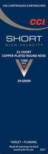 CCI 22 Short HV 29 Gr Copper Plated Round Nose (per 100)
