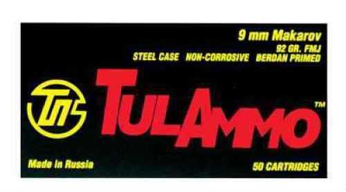 Tulammo TULA 9mmX18mm Makarov 92 Grains FMJ 50 rounds Ammunition