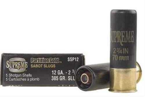 """Winchester Ammunition Supreme Slugs 12 Gauge 2.75"""" 385 Grain Partition 5-Pack"""