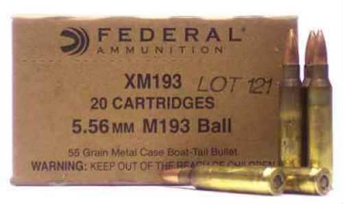 Federal Cartridge Federal 5.56 Mil-Spec 55Gr FMJ /20 Md: XM193 Ammunition