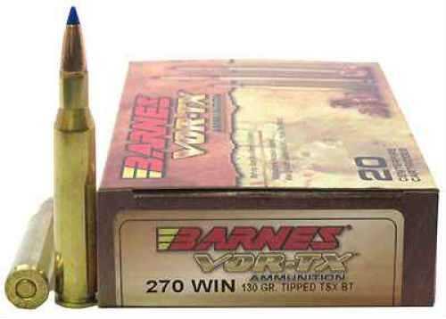 Barnes VOR-TX 270WIN 130 Grain Tipped Triple Shock X Boat Tail Lead Free 20 Round Box 21524