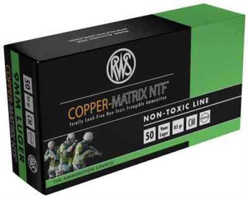 Ruag Ammotec USA Inc COPPER MATRIX 9mm Non Toxic/Frangible 85 GR 50Rds CM9