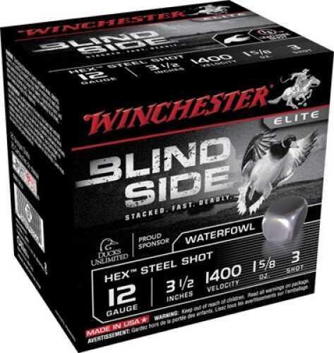 """Winchester Supreme Elite Blindside 12 ga 3.5"""" 1.6 oz 3 Shot 25 Box Md: Case Price 250 Rounds SBS12L3"""