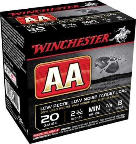 "Winchester Ammunition AA TGT 20Ga 2.75"" #8 7/8Oz 25 Rounds AA20FL8"