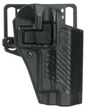 Blackhawk CQC Serpa Belt Holster Right Hand Black Carbon Fiber Springfield XD Carbon Fiber Belt Loop And Paddle 410007Bk
