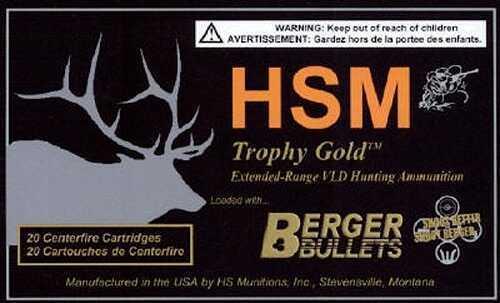 HSM / Hunting Shack Inc HSM/Hunting Shack Inc HSM Trophy Gold 338 Lapua Magnum Ammo Open Tip Match Grade 300 GR 20 Rounds BER338LAPUA3