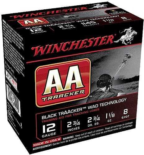"Winchester AA TargetTracker 12ga 2.75"" 8 shot Black 25Box/10Case AA128TB"