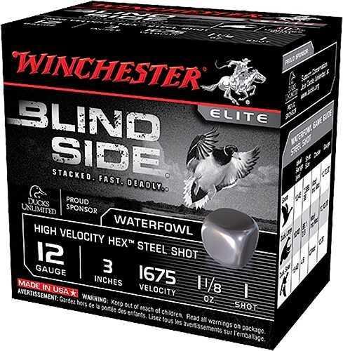"Winchester Blindside Steel Waterfowl 1675 FPS 12ga 3"" 1-1/8 oz #1 250 Rounds Ammunition SBS123HV1"