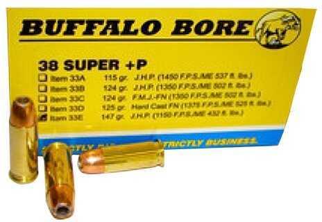 Buffalo Bore Ammunition 38 Super +P (Per 20) 147 Gr JHP 33E/20