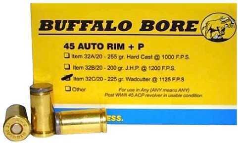 Buffalo Bore Ammunition 45 AutoRim +P 225 Grains Wadcutter (Per 20) 32C/20