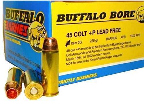 Buffalo Bore Ammunition Buffalo Barnes Heavy 45 Colt +P 225 Gr Barnes XPB (Per 20) 3G/20
