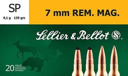 Sellier & Bellot SB7B Soft Point 7mm Remington Magnum 139Gr 20 Box