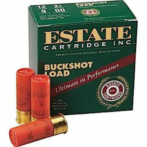 "Estate Cartridge 12ga 2.75"" 00 Buck Shot 9 Pellets 25 Rounds Ammunition Estate Brand by Federal I127N00"
