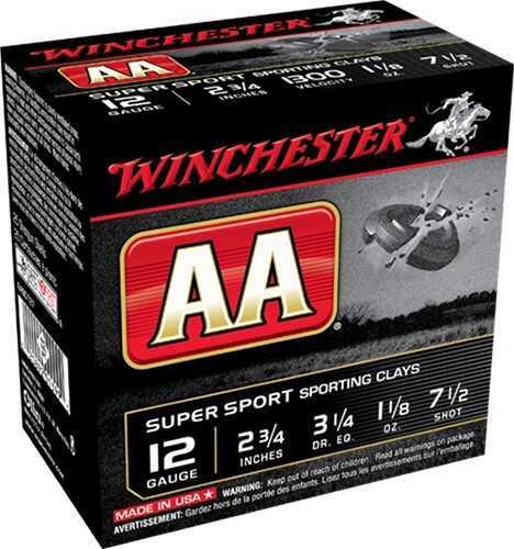 "Winchester Ammunition AASC127To AA TrAAcker Orange 12Ga 2.75"" 7.5 Shot 1-1/8 Oz Per 250 (Case Price)"