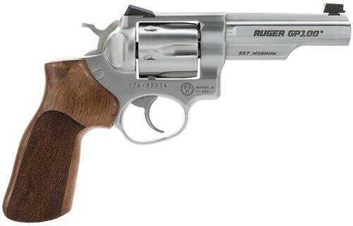 """Revolver Ruger KGP141MCF 357 Magnum 4.2"""" Barrel Stainless Steel 6 Round Fiber Optic Sights Hogue Stippled Hardwood Grip 1754"""
