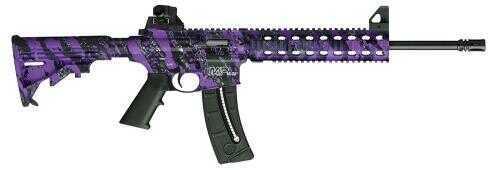 "Smith & Wesson M&P15-22 Ban State Compliant SA 22 Long Rifle 16.5"" Barrel 10 Round   Fixed Stock   Purple Platinum/Black Semi Automatic Rifle 10042"