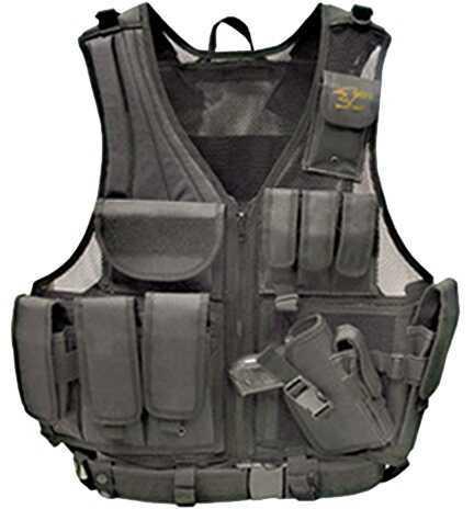 Galati Gear Deluxe Tactical Vest Husky Size Nylon Black GLV547BL