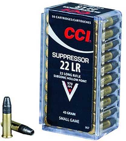CCI/Speer Suppressor 22LR 45 Grain Hollow Point 50 Round Box 957
