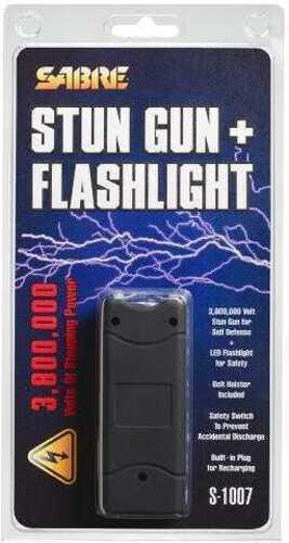 Sabre S1007Bk 3.8 Million Volt Stun Gun/Flashlight w/Holster Discharge Black