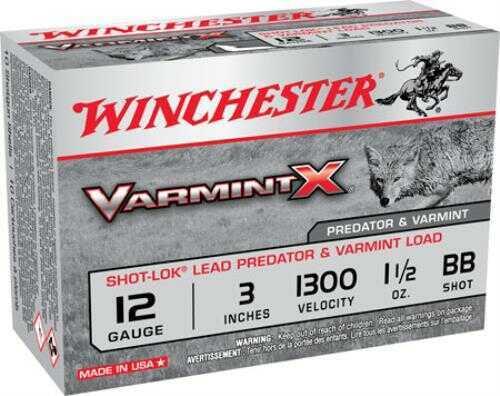 """Winchester Ammo X123VBB Varmint X 12 Gauge 3"""" Buckshot 1-1/2 oz BB 10 Bx/ 10 Cs"""
