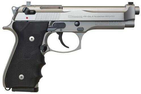 """Pistol Beretta USA 92FS Brigadier Inox SA/DA 9mm Luger 4.9"""" Barrel 10+1 Black Rubber Grip Stainless Steel J92F560"""