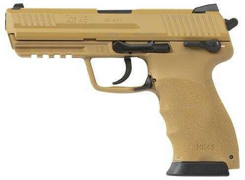 "Heckler & Koch HK HK45 45ACP Double Action 4.5"" Barrel 10+1 Rounds Tan Polymer Frame Tan Slide Semi Automatic Pistol 745001BBA5"