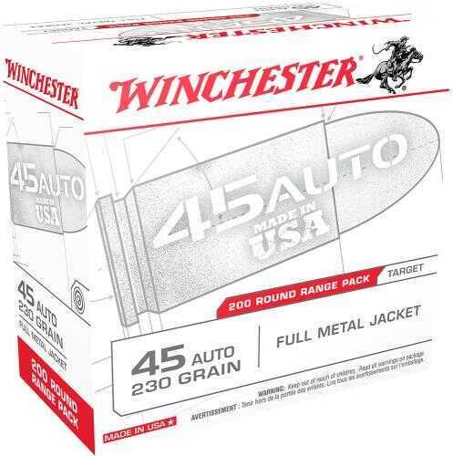 Winchester USA Centerfire 45 ACP 230 GR FMJ 200 Box USA45W