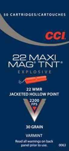 CCI 22 Winchester Magnum Rimfire by 22 WMR, HP Maxi Mag TNT, (Per 50) 0063