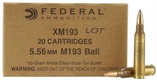 Federal Cartridge Federal American Eagle 5.56x45mm NATO 55 Grain XM193 Full Metal Jacket Boat Tail Ammunition, 30 Roun