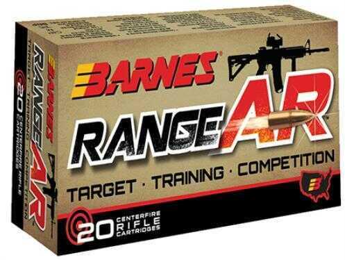 Barnes Bullets Range AR 5.56x45mm 52 Grain Open Tip Flat Base Ammunition, 20 Per Box