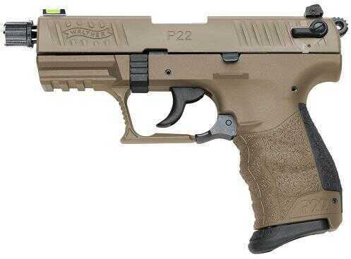 "Walther P22 Semi-Auto Pistol 22 Long Rifle 3.4"" Threaded Barrel 10+1 Rounds Polymer Grips SA/DA Flat Dark Earth Semi Automatic Pistol 5120353"
