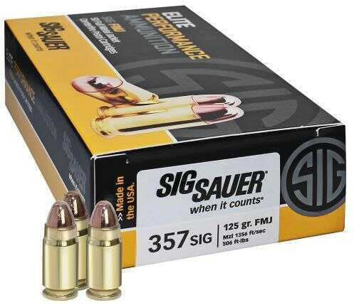 Sig Sauer Sig Elite Performance 357 Sig 124 Gr Full Metal Jacket Ammunition 50 Per Box