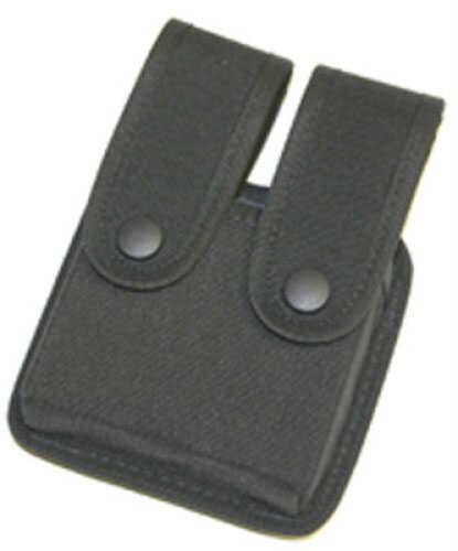 Uncle Mikes Cordura Double Pistol Magazine Case - Snap Black Double Row 88361