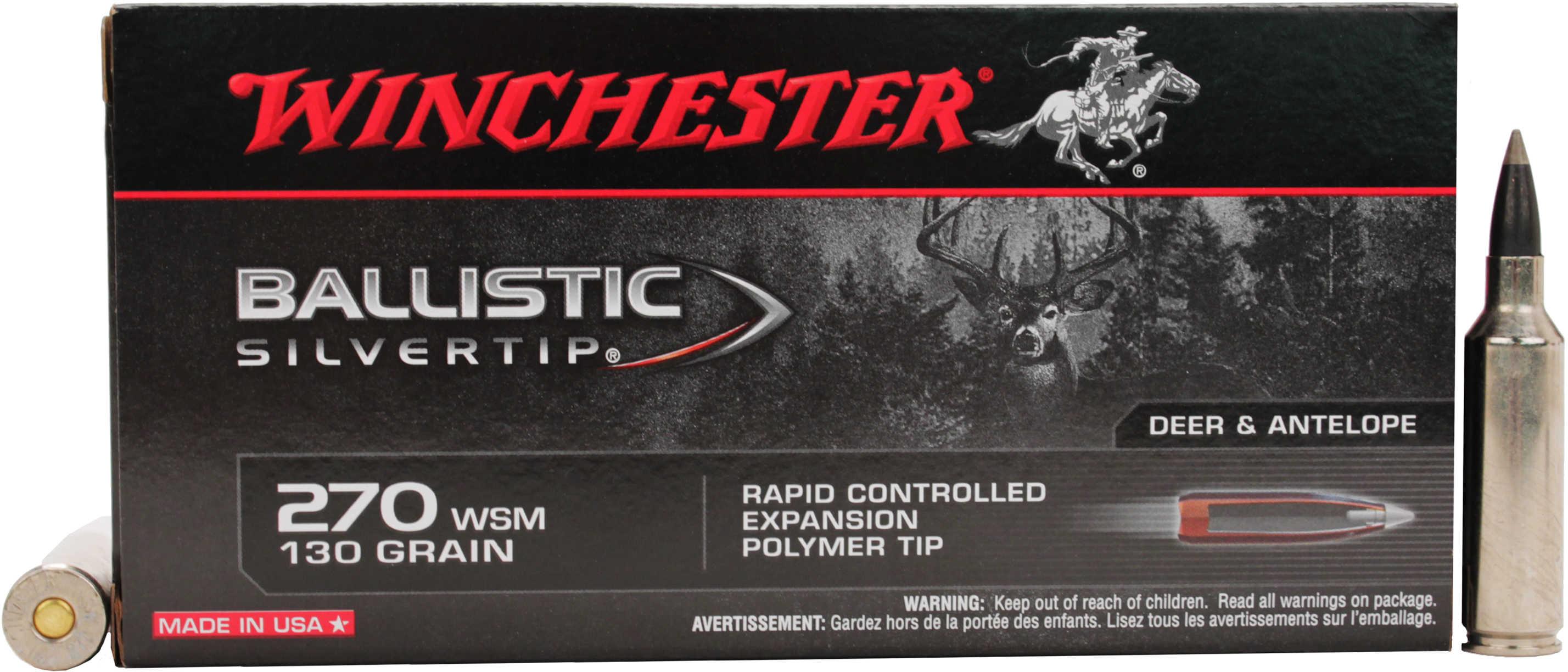 Winchester Ammunition Supreme 270WSM 130 Grain Supreme Ballistic Silvertip 20 Round Box SBST2705