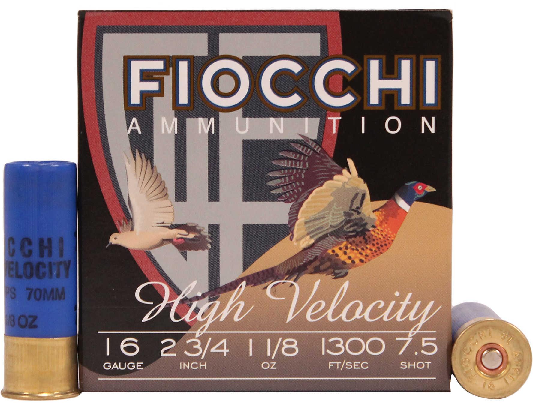 "Fiocchi Ammo 16 Gauge 2 3/4"" 1 1/8Oz #7.5 High Velocity 25 Rounds Ammunition 16HV75"