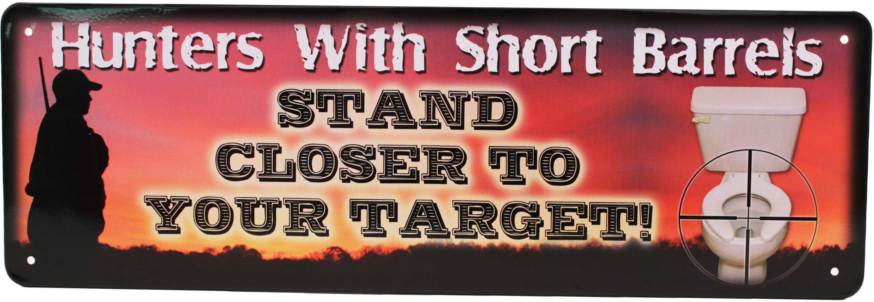 "Rivers Edge Products 10.5"" x 3.5"" Tin Sign Hunters w/Short Barrels 1416"