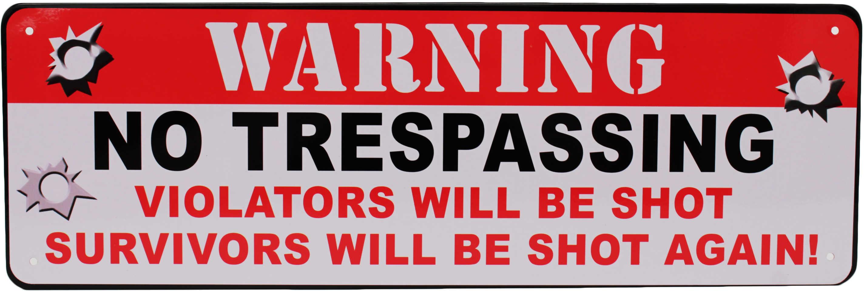 "Rivers Edge Products 10.5"" x 3.5"" Tin Sign Warning No Trespassing 1426"