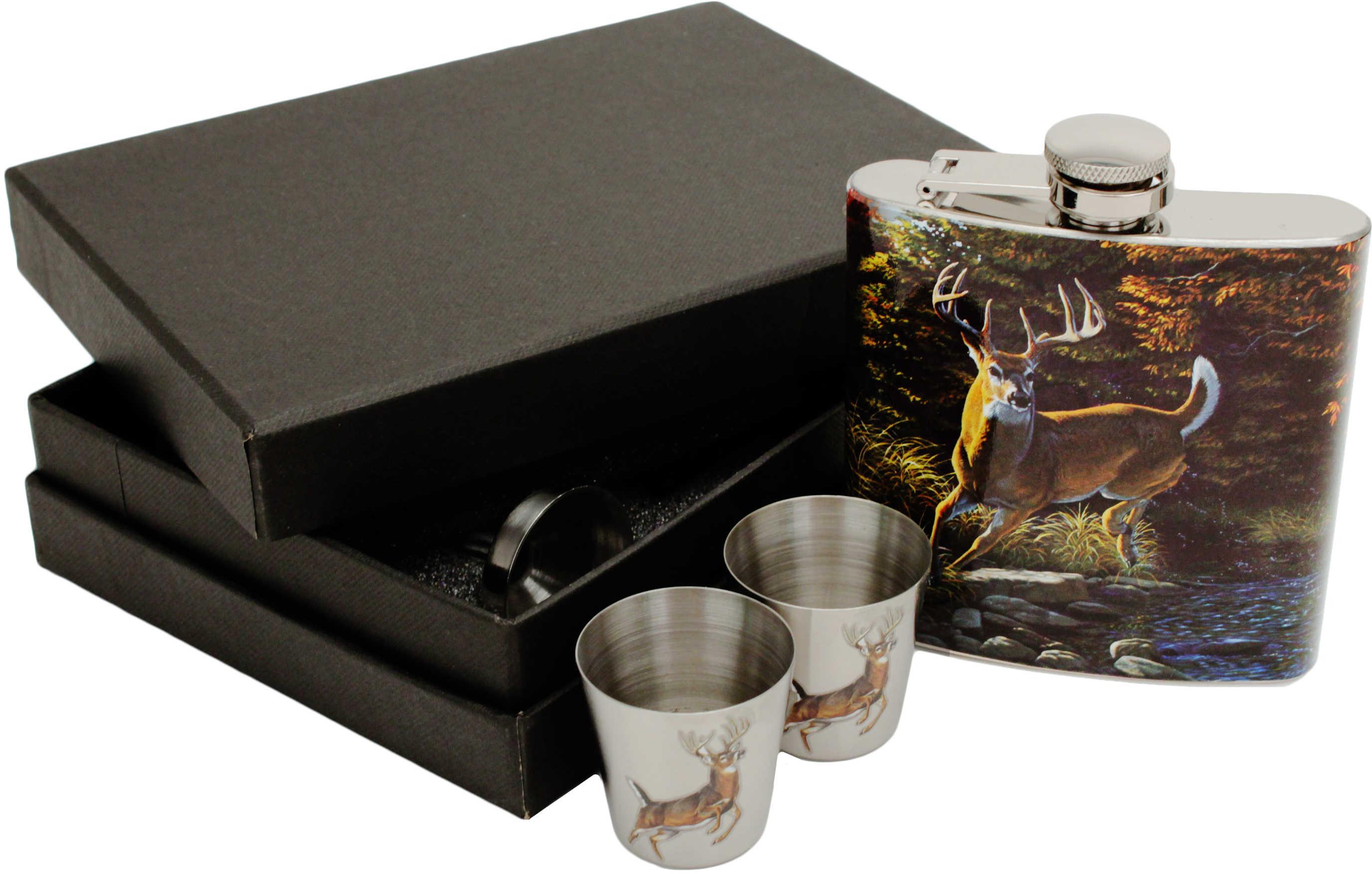 Rivers Edge Products Flask w/Shot Glasses Deer 988
