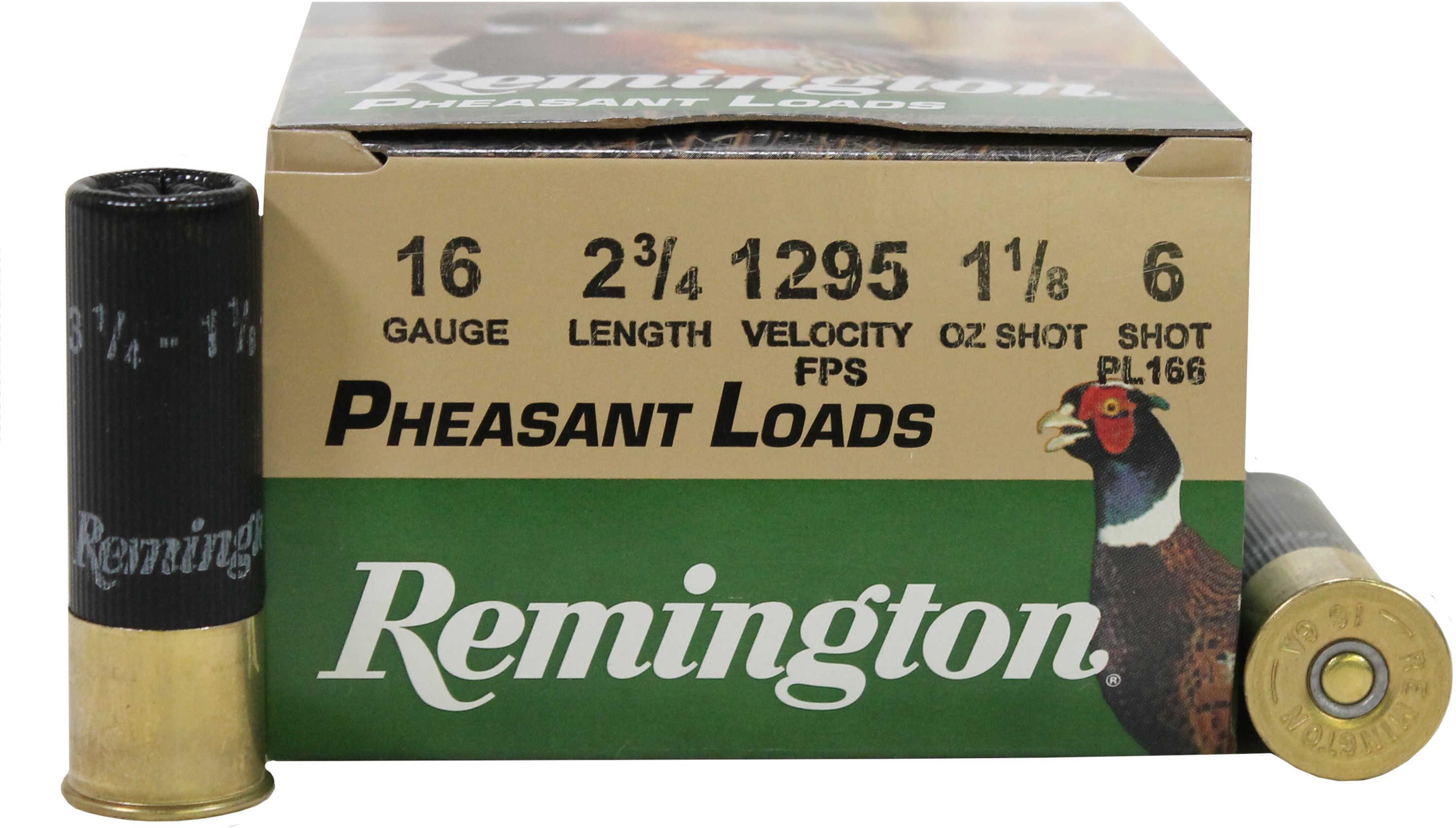 Remington Pheasant Loads 16 Gauge 1 1/8Oz #6 25 Rounds Ammunition PL166