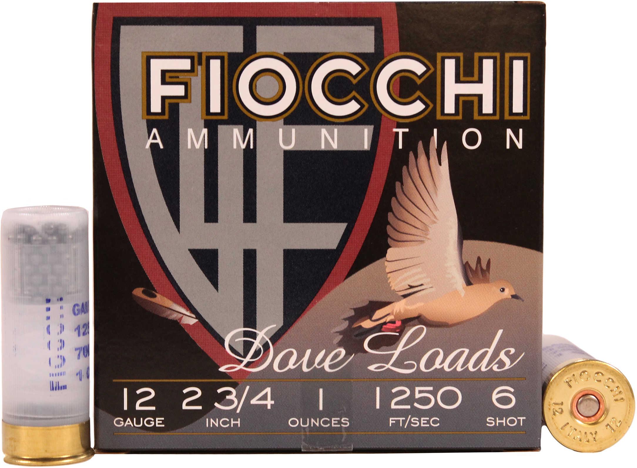 """Fiocchi Ammo Dove & Quail 12 Gauge 2 3/4"""" 1Oz #6 25 Rounds Ammunition 12GT6"""