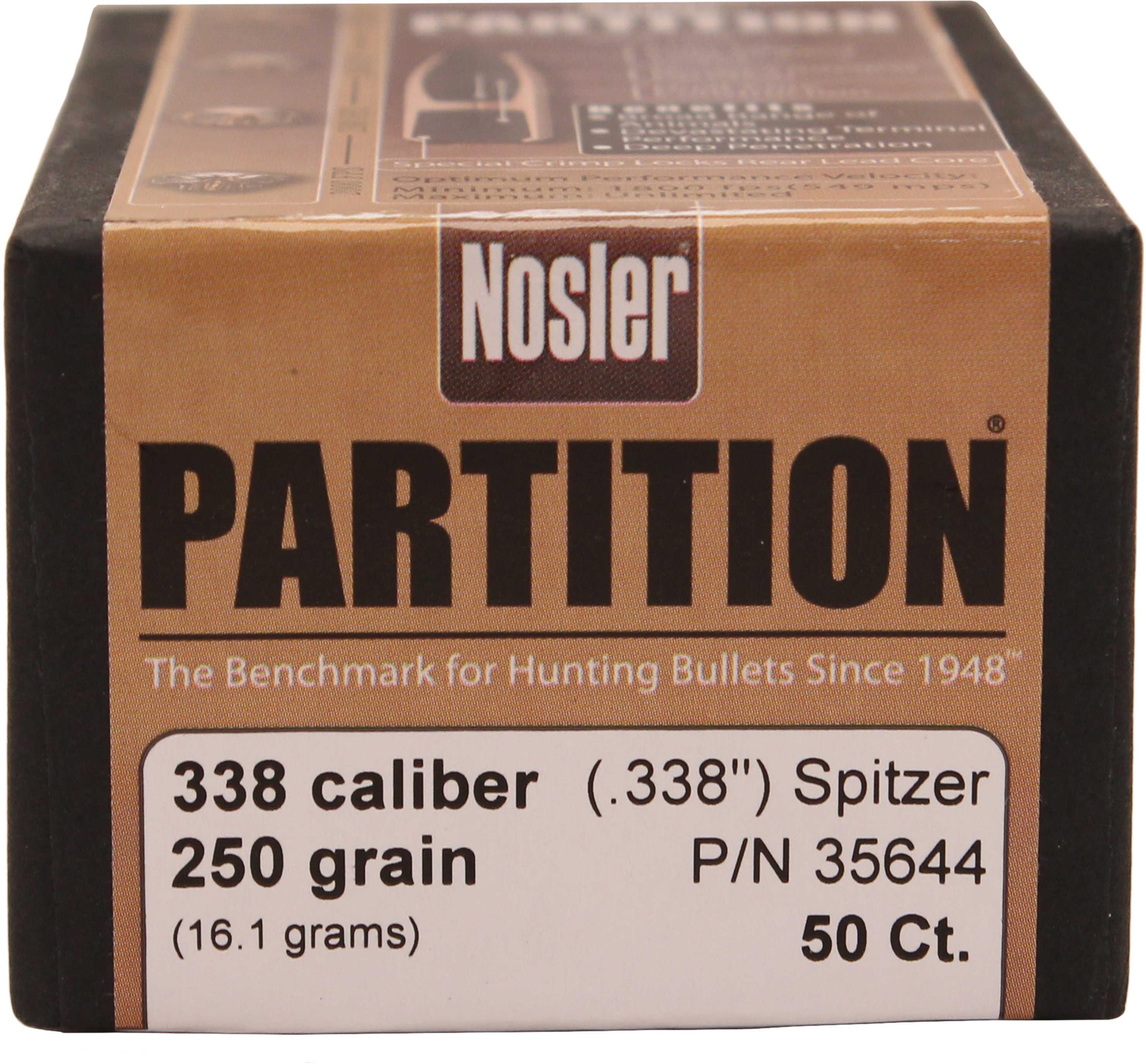 "Nosler 338 Caliber 250 Grains SP Part .338"" 50/Box Bullets 35644"