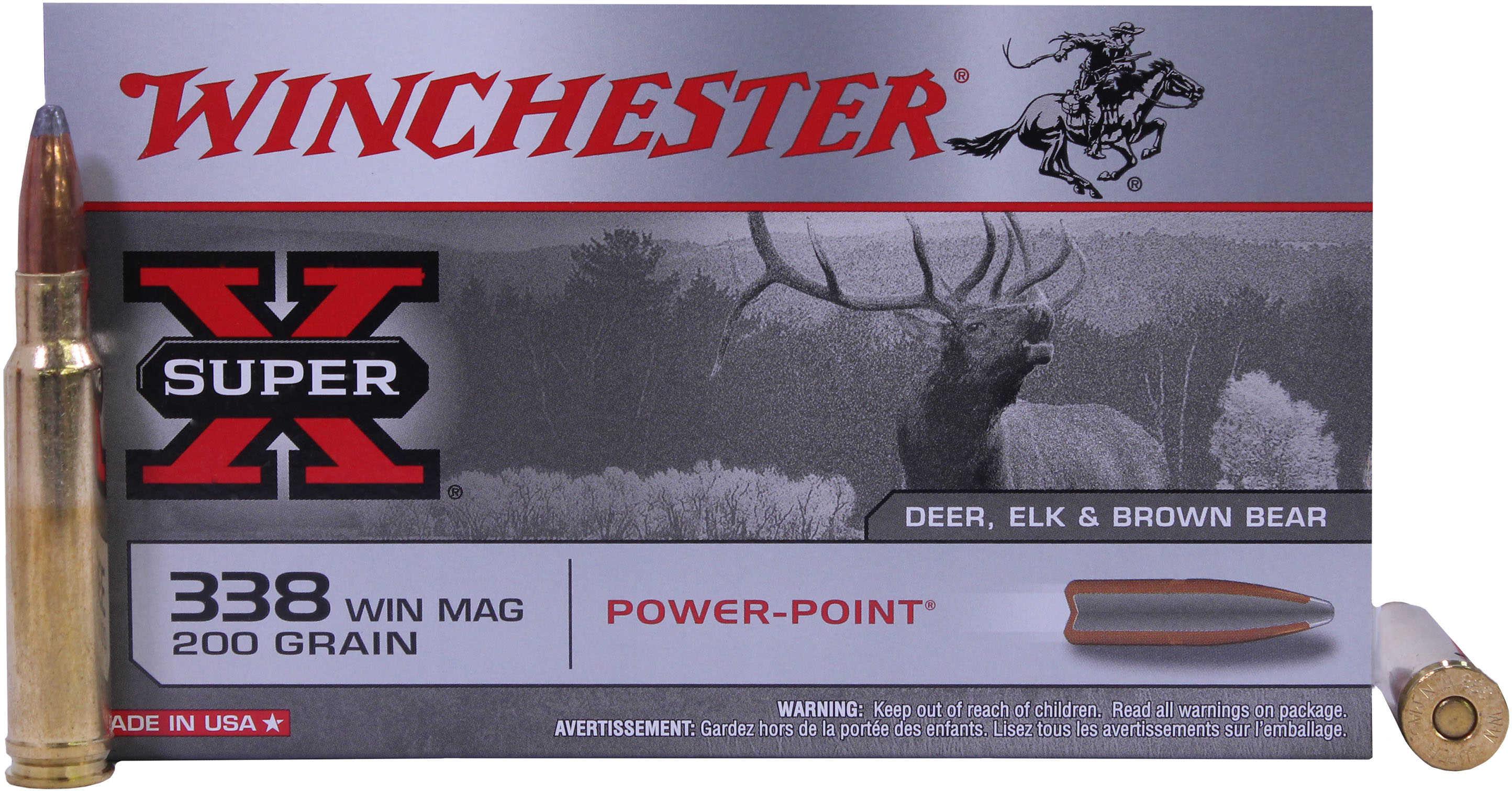 Winchester 338 Winchester Magnum 338 Win Magnum, 200gr, Super-X Power-Point, (Per 20) X3381