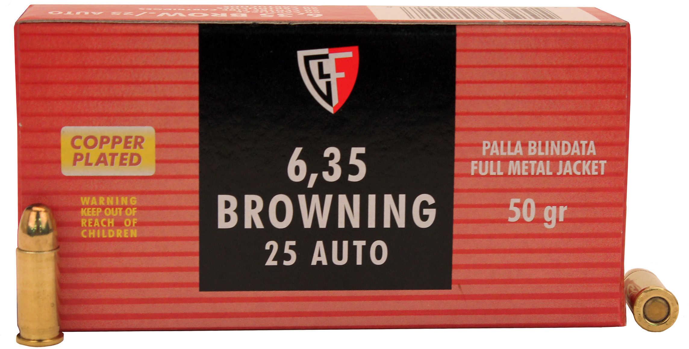 Fiocchi Ammunition Centerfire Pistol 25 ACP 50 Grain Full Metal Jacket 50 Round Box 25AP