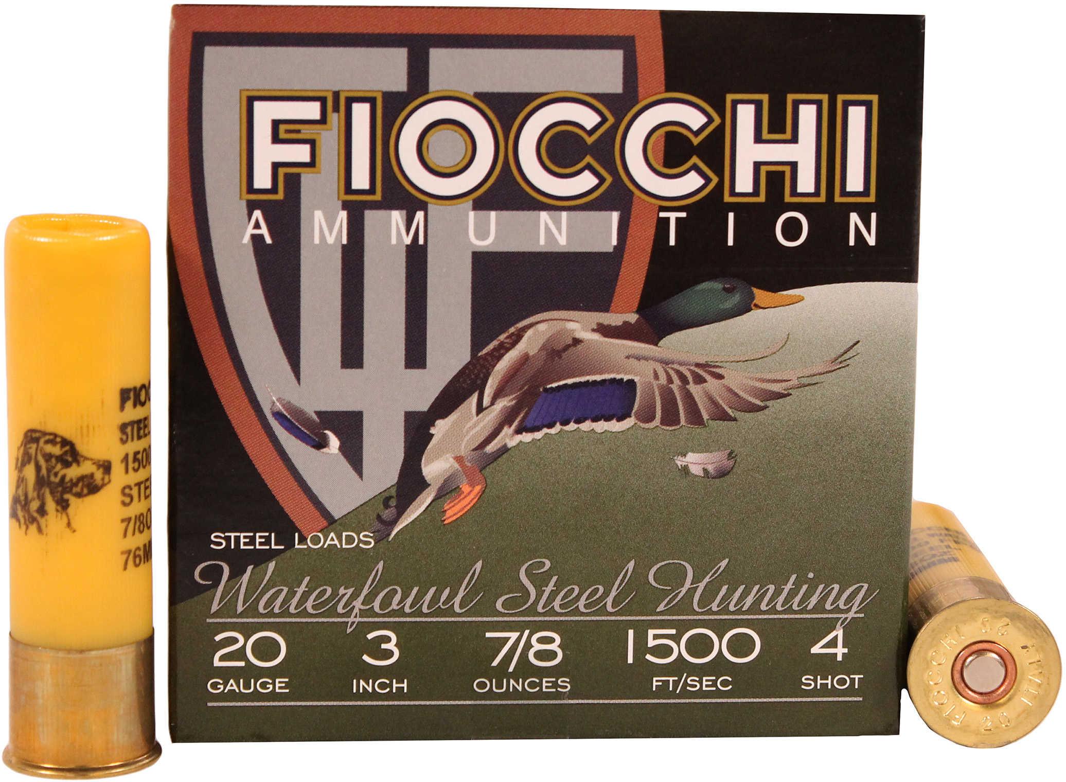 "Fiocchi Ammo Steel 20 Gauge 3"" 7/8Oz #4 25 Rounds Ammunition 203ST4"