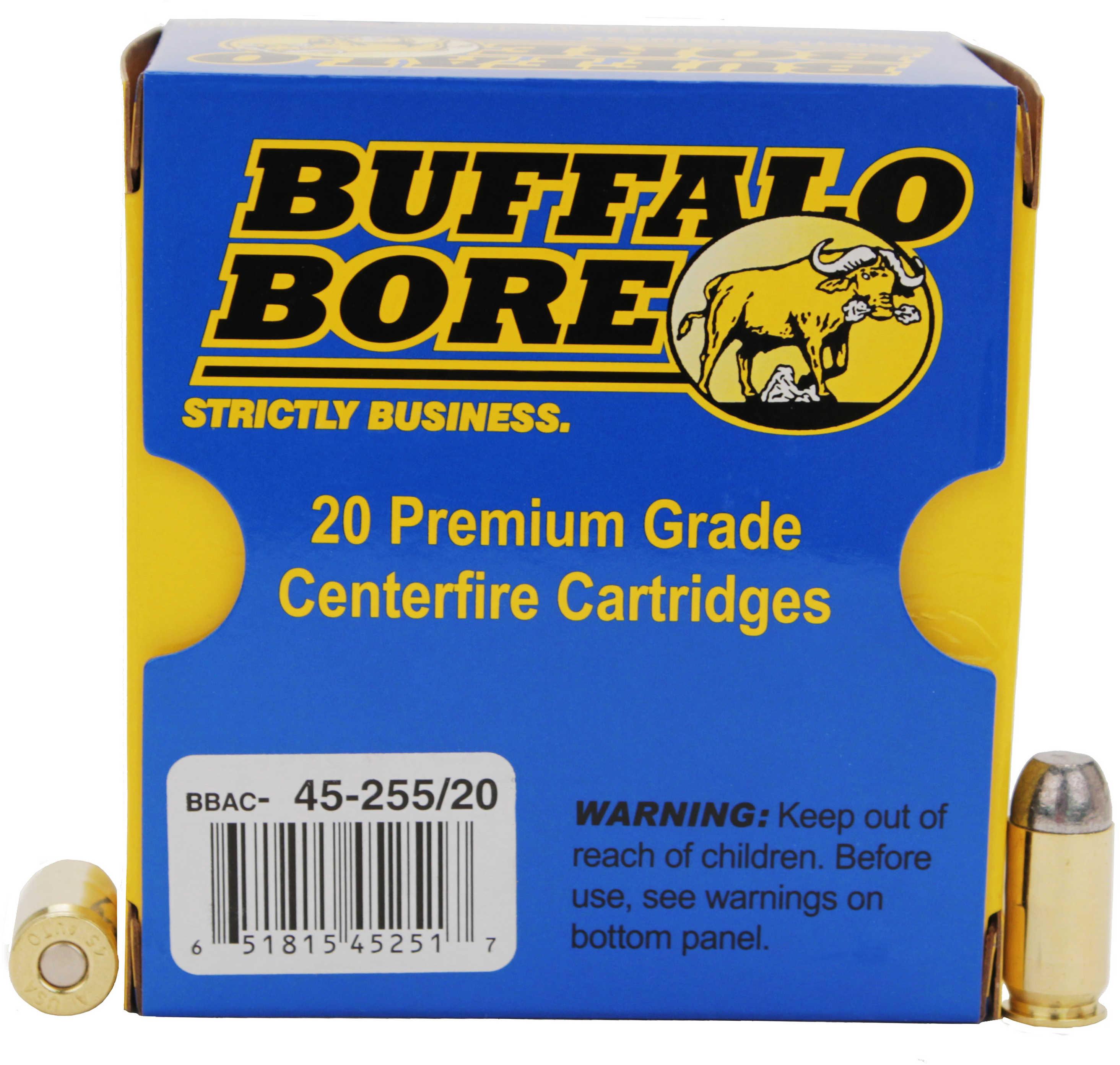 Buffalo Bore Ammunition Handgun 45 ACP Hard Cast 255 Grains 20 Rounds Per Box 45/255