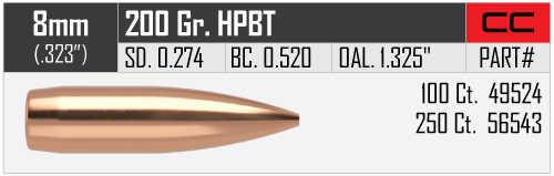 "Nosler Custom Competition 8mm (.323"") 200 HPBT Bullets per 100"