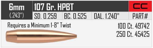 "Nosler Custom Competition 6MM (.243"") 107 HPBT Bullets 100 49742"