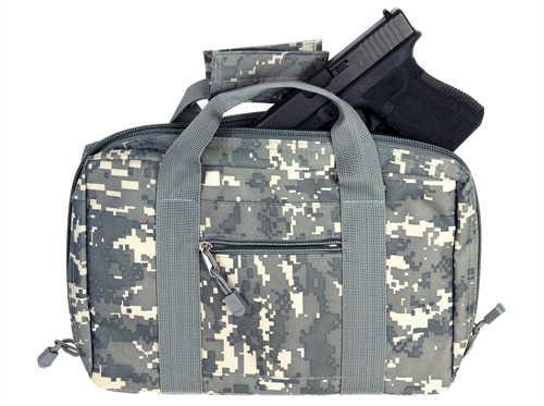 NCSTAR Discreet Pistol Case Nylon Digital Camo Two Padded Handgun Compartments Six Elastic Magazine Loops Carry Handle C
