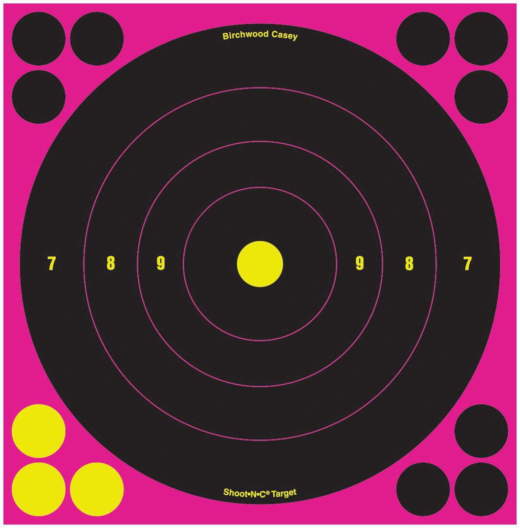 """Birchwood Casey Shoot-N-C Targets Bull's-Eye Pink, 8"""" (Per 30) 34828"""